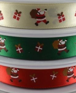 Ivory polyester satin ribbon with santa design 15mm x 20m