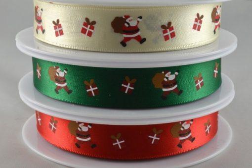 Red polyester satin ribbon with santa design 15mm x 20m