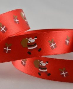 Red polyester satin ribbon with santa design 15mm x 20m