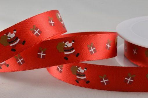Red polyester satin ribbon with santa design 15mm x 20m 1