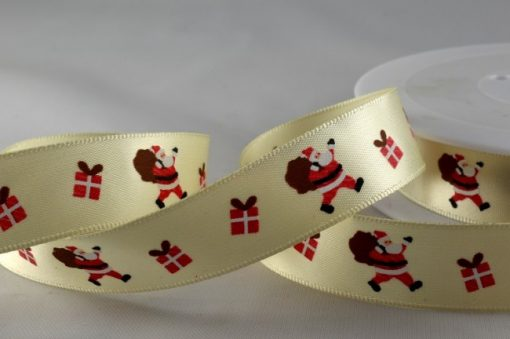 Ivory polyester satin ribbon with santa design 15mm x 20m 1