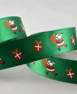 Green polyester satin ribbon with santa design 15mm x 20m