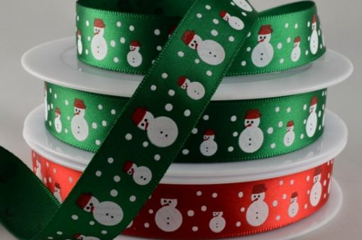 Green polyester satin with snowman design 15mm x 20m