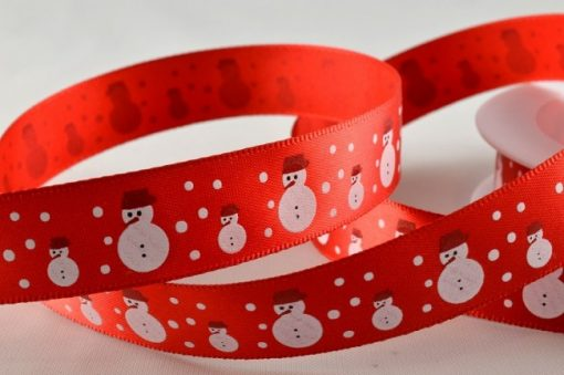 Red polyester satin with snowman design 15mm x 20m 1
