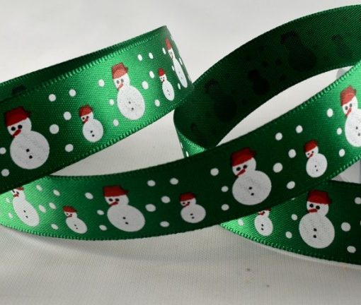 Green polyester satin with snowman design 15mm x 20m 1