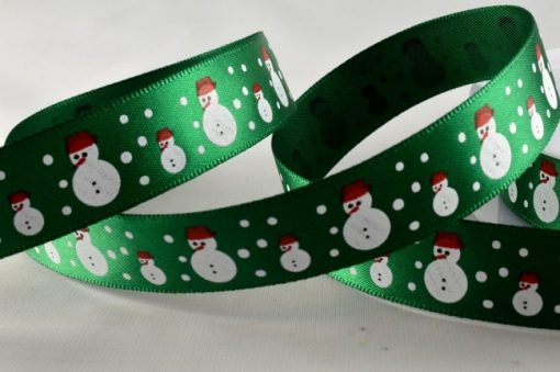 Red polyester satin with snowman design 15mm x 20m