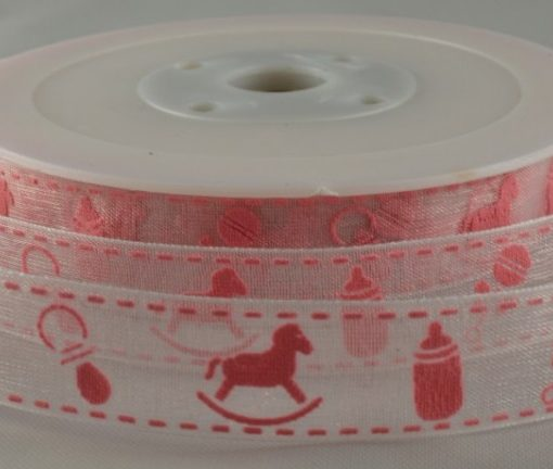 20mm White Organza ribbon with pink or blue baby design 20Mtr Roll