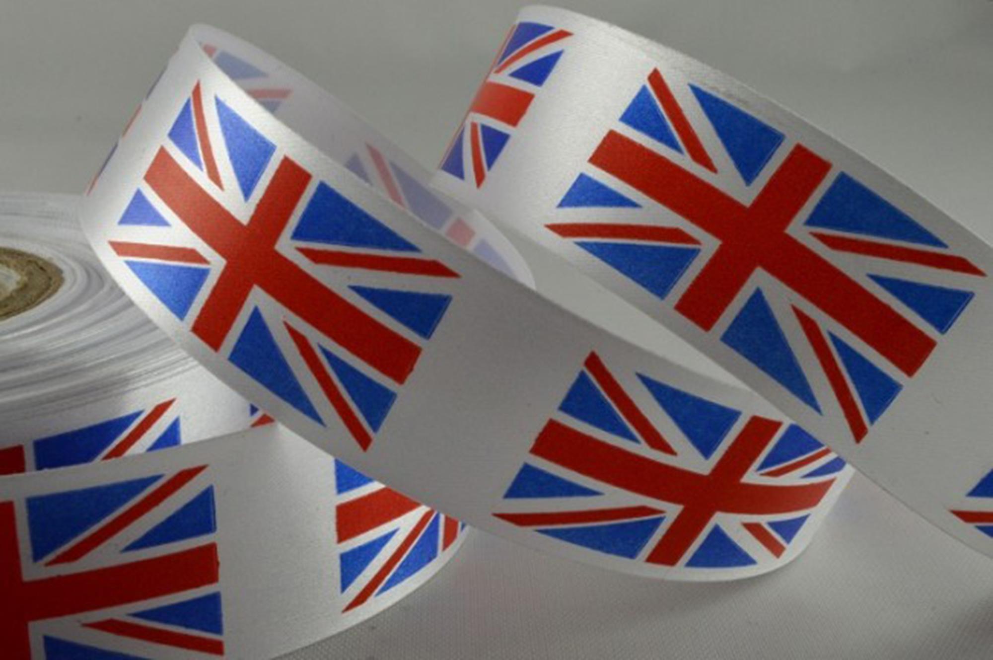 Union Jack Print Ribbon 25mm Or 38mm X 50m Roll Ribbon