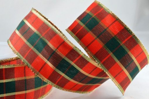 40mm red and green wired tartan