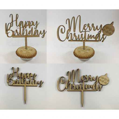 Merry Christmas and Happy Birthday toppers